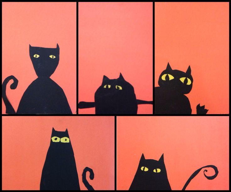 Les chats d'Halloween, 2e année, découpage et collage.