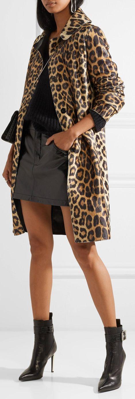 Faux Leather/Leopard Coat