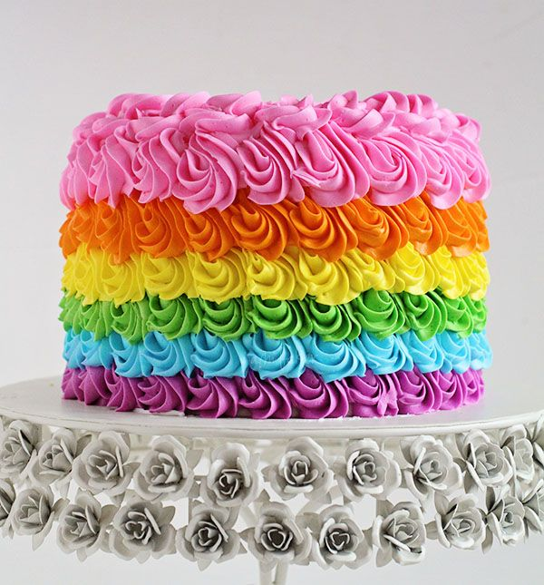 Swirly Rainbow Cake (Inside and Out!) #rainbow #cake #birthdaycake