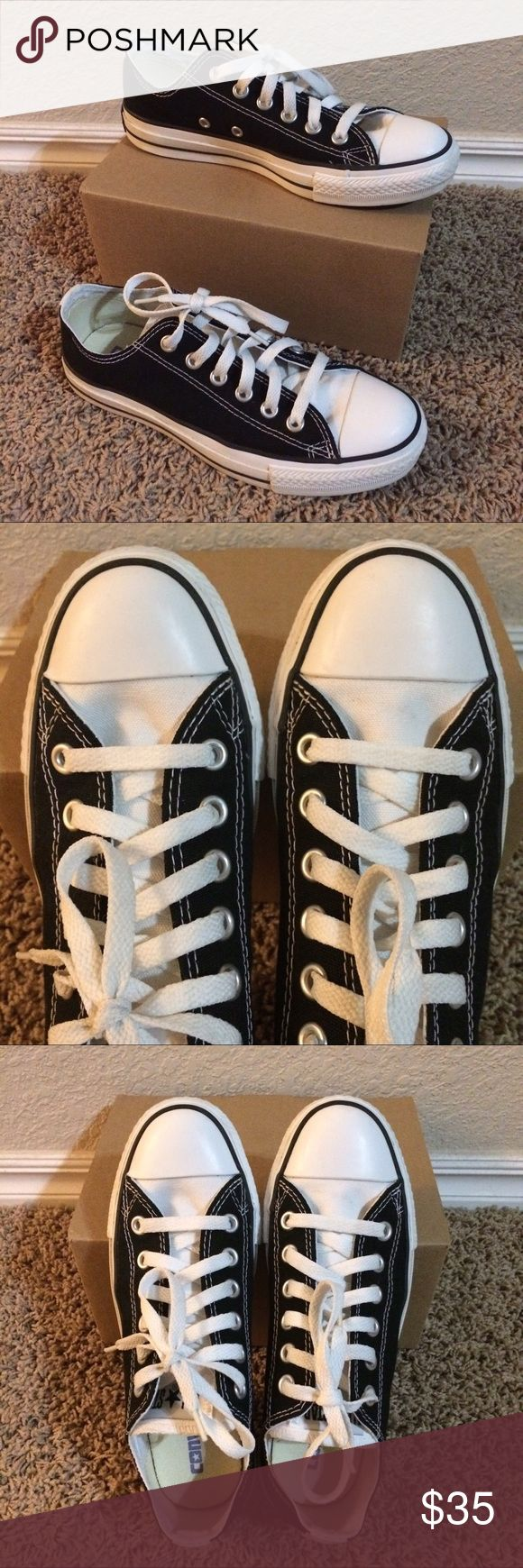 Converse Chuck Taylor black w/ white tongue shoes These are a cute pair of Converse Chuck Taylor All-Star sneakers. They are black with white tongues and a thick white stripe down the back. These seem like a unique style; I've never seen any like them in a store since I bought mine. They've only been worn a time or two and don't show any wear. They are a size 6.5 but run a little bigger than my other Chuck Taylors and should fit someone who's usually a 7 in Chucks. This is a great pair of…