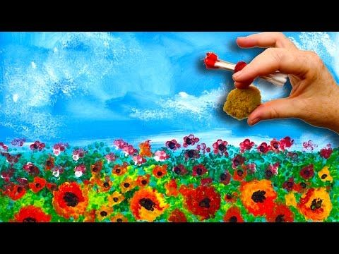 EASY Poppies NO BRUSHES ACRYLIC Painting Sponge And Cotton Swabs BEGINNERS Acrylic Painting - YouTube