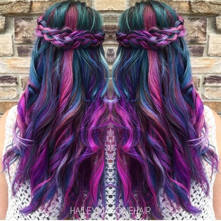Mermaid hair with braids by Hailey Mahone Balayage Ombré Purple hair Magenta hair Hair Painting fb.com/hotbeautymagazine Rainbow Hair