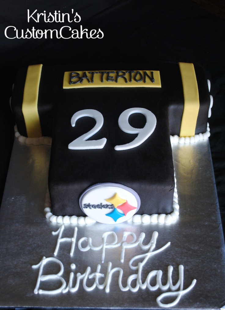 Pitsburg Steelers Football Jersey Cake  www.facebook.com/kristinscustomcakes  www.kristinscustomcakes.blogspot.com