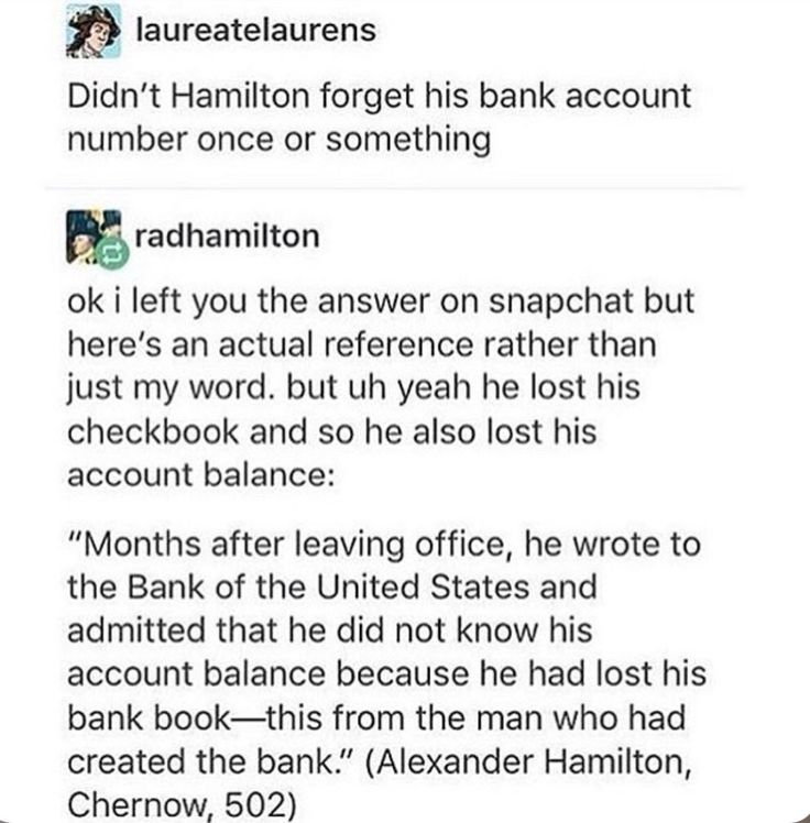 "An inspiration. But on a serious note, how done was Eliza Hamilton in that moment? You know she's the one who finally made him write the letter: ""Eliza, I can't just write them and ask for my account number. I created the bank. It'll make me a joke. My legacy will be ruined."" ""Alexander, you don't even know if we can afford to buy milk."""
