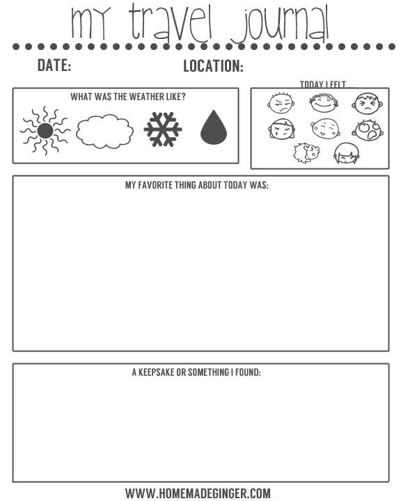 free travel journal printable