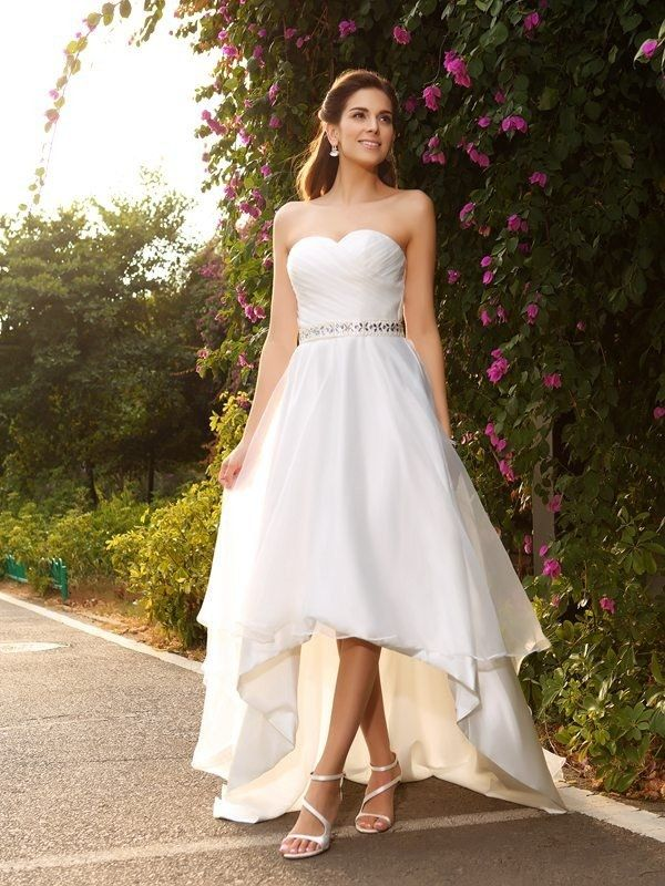 575524c351763 Sleeveless Zipper High Low A-line Princess Beading Chiffon Wedding Dress -  Chiffon Wedding Dresses - Wedding Dresses - Dresshopau.com