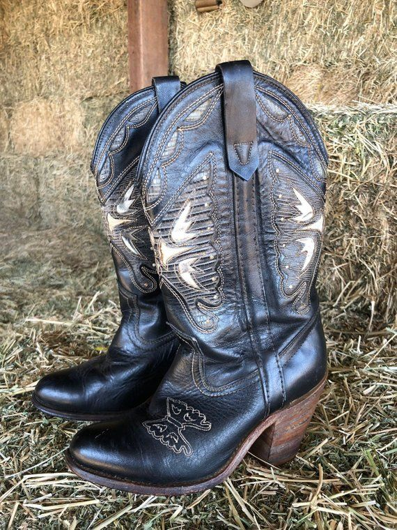 bdce010bb8e Vintage black leather butterfly western boots Miss Capezio size 6 1 ...