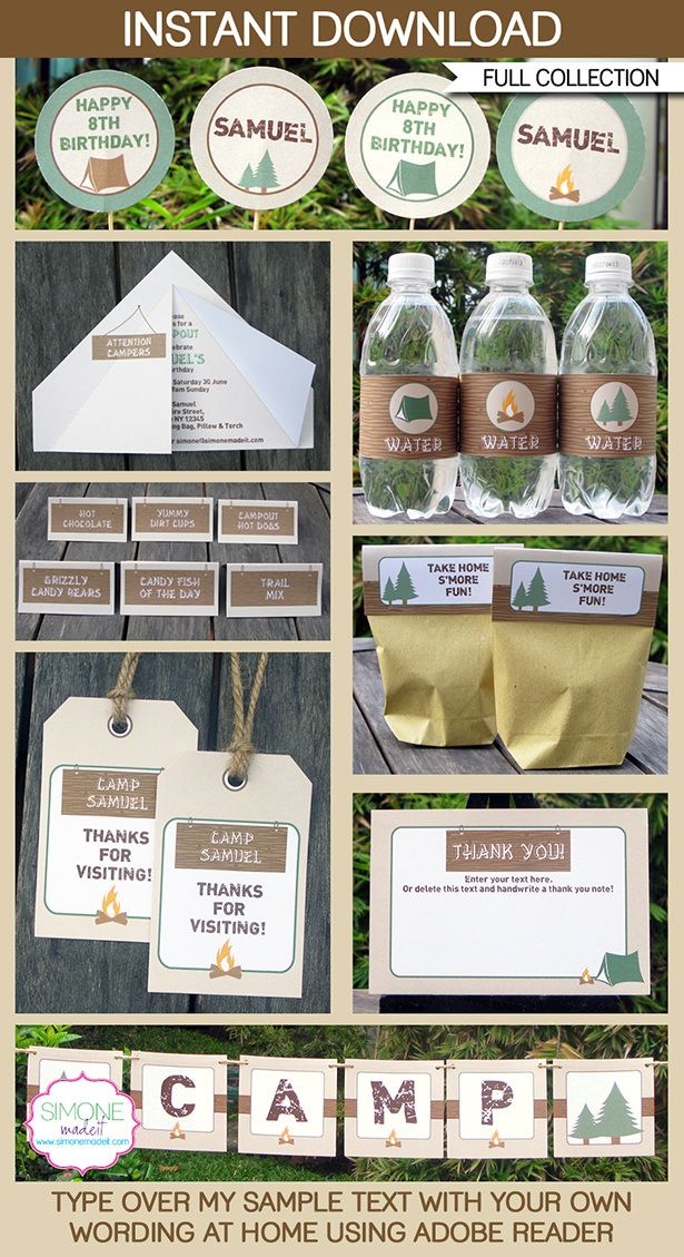Camping Birthday Party Printables, Invitations & Decorations | Camping Theme Templates | $12.50 via SIMONEmadeit.com