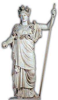 Athéna, déesse de la guerre, de la sagesse, des artisans, des artistes et des maîtres d'écoles.