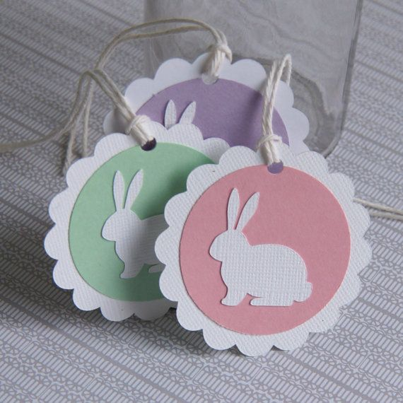 6 Easter Bunny Tags Easter Gift Tags Bunny Tags .  by scrapbits