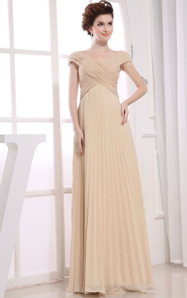 Floor-length Cap Sleeves Chiffon A-line Empire Bridesmaid Dresses