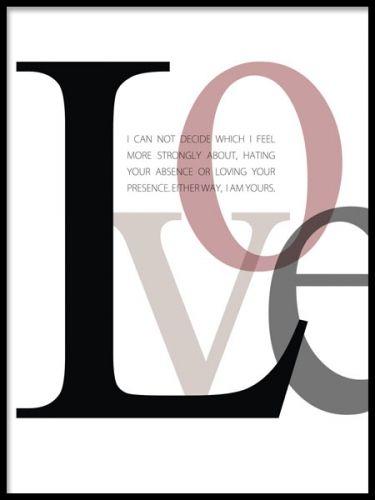 Grafisk poster med text, LOVE