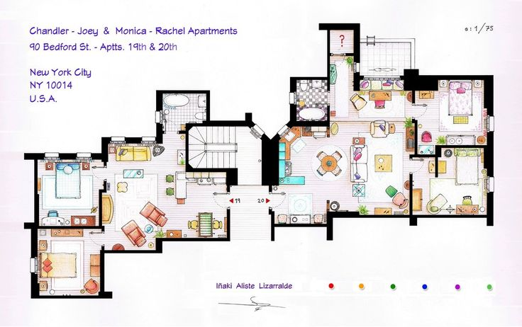 From Friends to Frasier: 13 Famous TV Shows Rendered in Plan