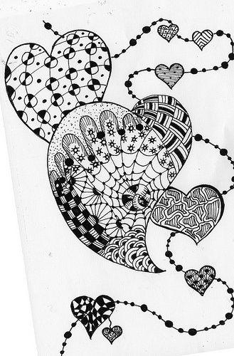 hearts- zentangle