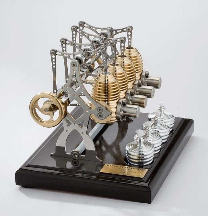 A Stirling engine is a heat engine operating by cyclic compression and expansion of air or other gas, the working fluid, at different temperature levels such that there is a net conversion of heat energy to mechanical work.[1][2] Or more specifically, a closed-cycle regenerative heat engine with a permanently gaseous working fluid, where closed-cycle is defined as a thermodynamic system in which the working fluid is permanently contained within the system...