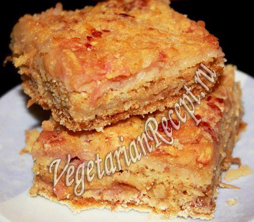 слоеный пирог с манкой и яблоками (без замешивания теста)