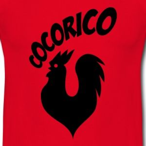 T shirt rouge homme Humour Cocorico le coq français chante N - Tee shirt Homme