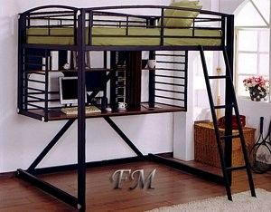Loft Beds For Teens | ... Black Finish Metal Full Loft Bunk Bed W