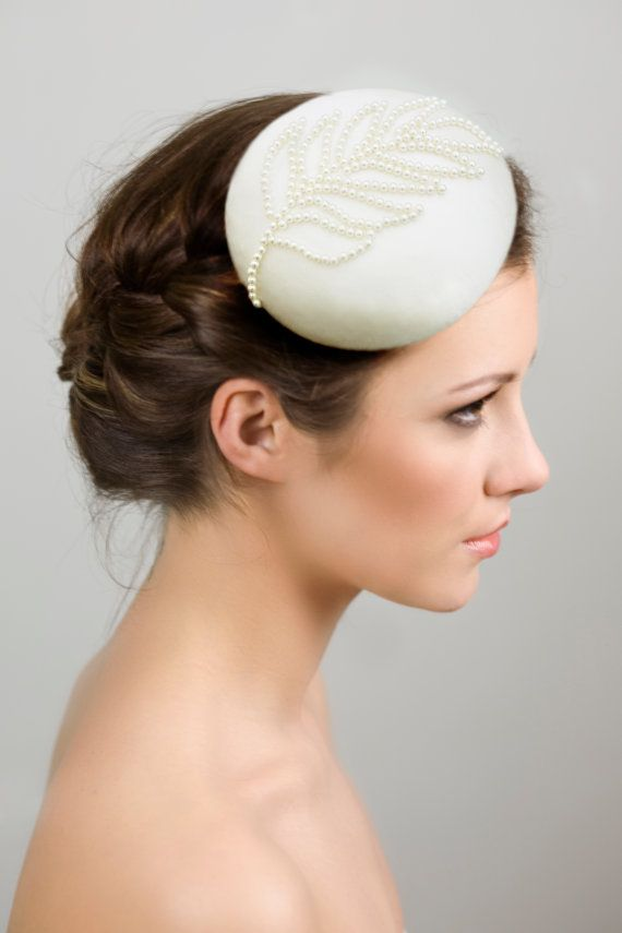 Bridal Hat Silk Cocktail Hat with Pearls by MaggieMowbrayBRIDAL #hair and makeup Emma Motion, #Model Kerri Roma Anderson, #Hat and #Photography Maggie Mowbray Millinery, #wedding hat