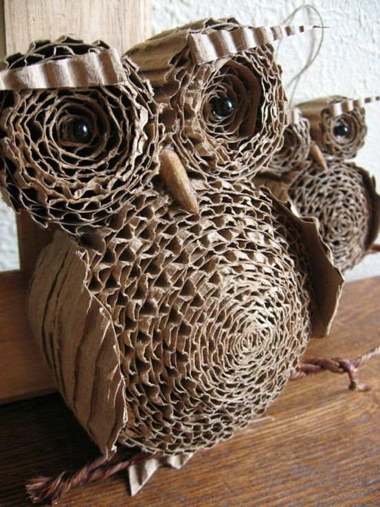 Corrugated Cardboard owl sculpture