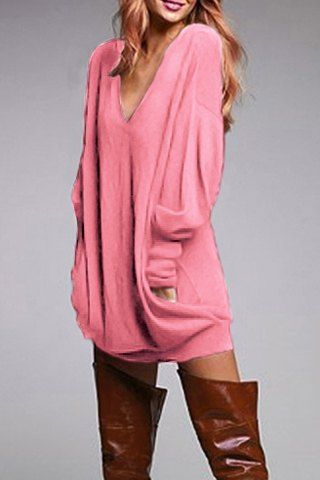 Stylish Plunging Neck Long Sleeve Solid Color Pocket Design Women's DressLong Sleeve Dresses | RoseGal.com