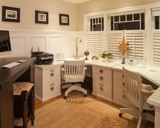 exquisite conventional home office design with white desk for two people also classic white wooden office