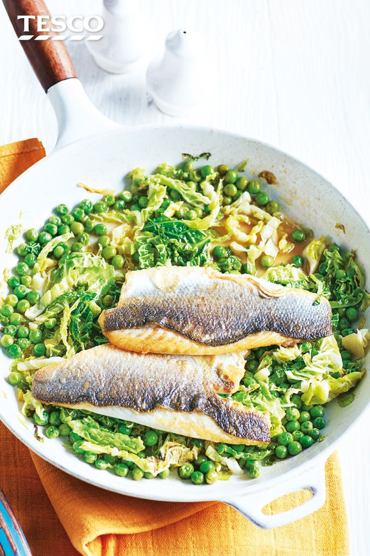 Try our pan seared sea bass fillets recipe for a quick and easy supper. With cider-braised greens, this super simple sea bass recipe uses only 6 ingredients and one pan. | Tesco