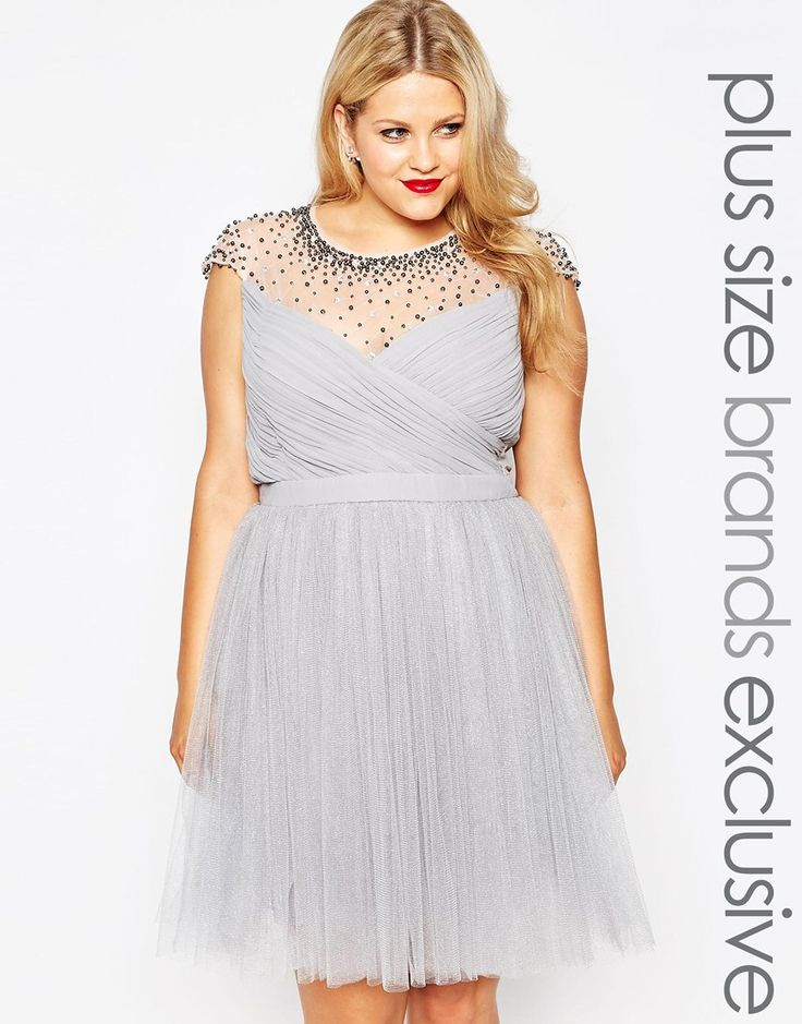 Little Mistress Plus Tulle Prom Dress With Embellished Sheer Detail