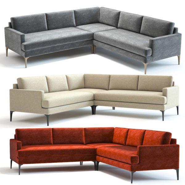 3d Model West Elm Andes L Shaped Sofa L Shaped Sofa Sectional Sofa Sofa