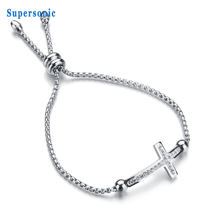 New Amulet Jewelry Adjustable Cross Charm Bracelet 316L Stainless Steel Crystal Promise Bracelet For Gift #Affiliate