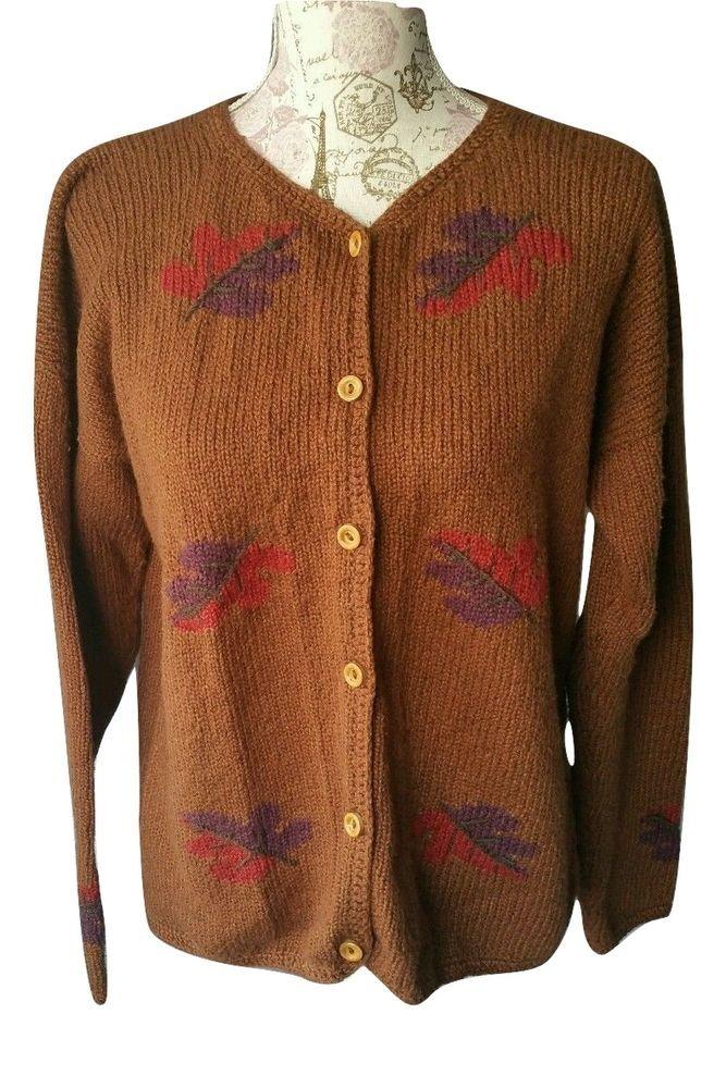 Planet Earth Cardigan Sweater Handloomed Peru 100% Cotton Fall ...