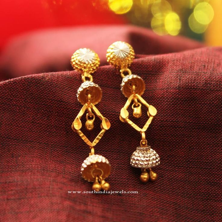 Gold Designer Rhodium Earrings, 22K Gold Rhodium Earrings Designs, Gold Designer Earrings with Rhodium Coating.