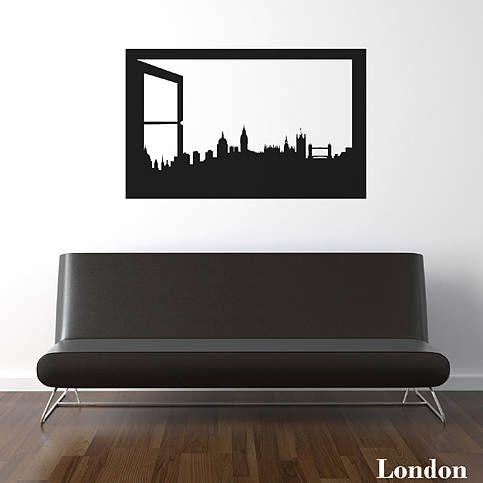 London Skyline Window Silhouette Wall Sticker