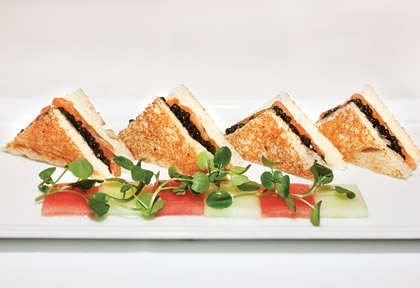 Smoked salmon and caviar croque monsieur at Le Bernadin. Comfort food, Eric Ripert's way, for when a Filet-O-Fish just won't do.