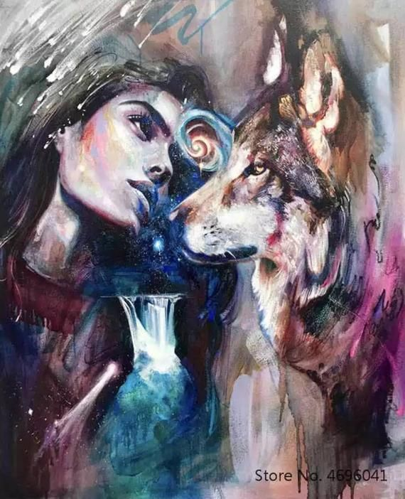 Usa Store Paint By Number Kit A Wolf And His Girl Fast