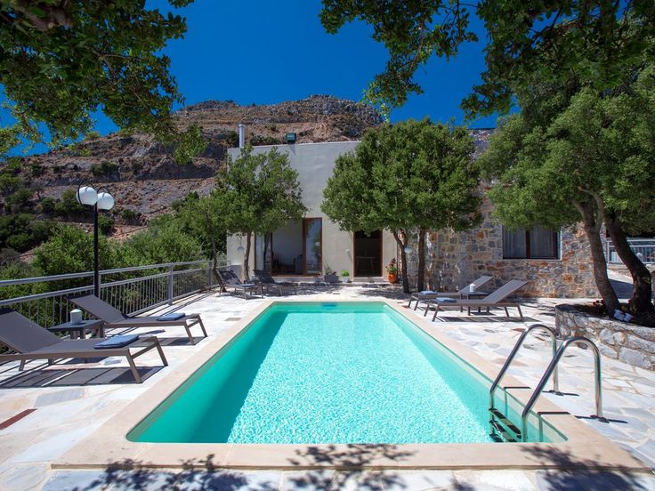 Sfakia villa rental - The pool terrace is equipped with sun beds!