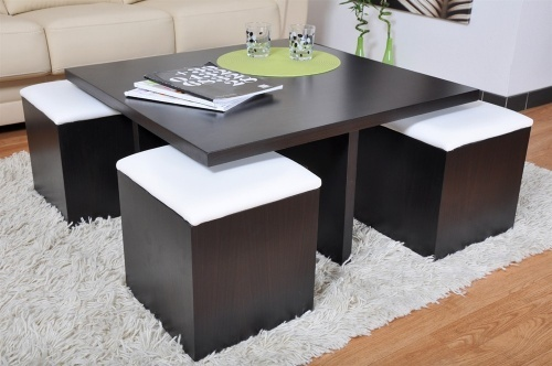 table basse carr weng et 4 poufs decoration. Black Bedroom Furniture Sets. Home Design Ideas