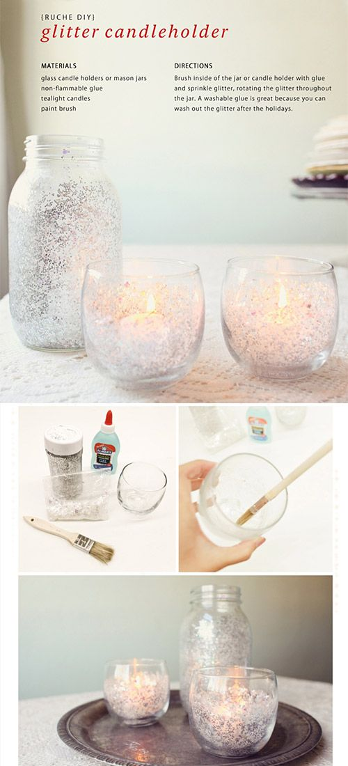 DIY - Glitter Candle Holders - Super Simple DIY via Ruche Homemade Holiday 2011 Online Magazine, page 24.