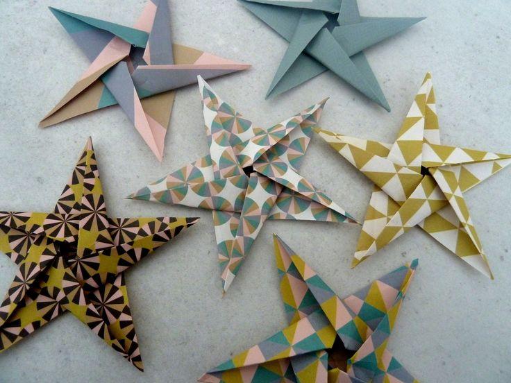 6 stickers étoiles en origami pour décoration murale chambre bébé fille enfant - rose, or, noir, turquoise : Décorations murales par papierelief