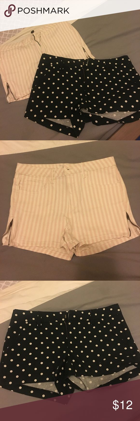 Forever 21 stripes & polka dots shorts bundle sz26 Shorts bundle! Both are size 26 from Forever 21. Light pink and white/almost cream striped are slightly high rise, with working zippers on both sides! Black with white polka dots have a hook and button inside rather than traditional button/eye hole. Both have front and back pockets. Forever 21 Shorts