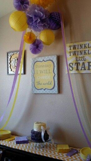 Purple and yellow baby shower