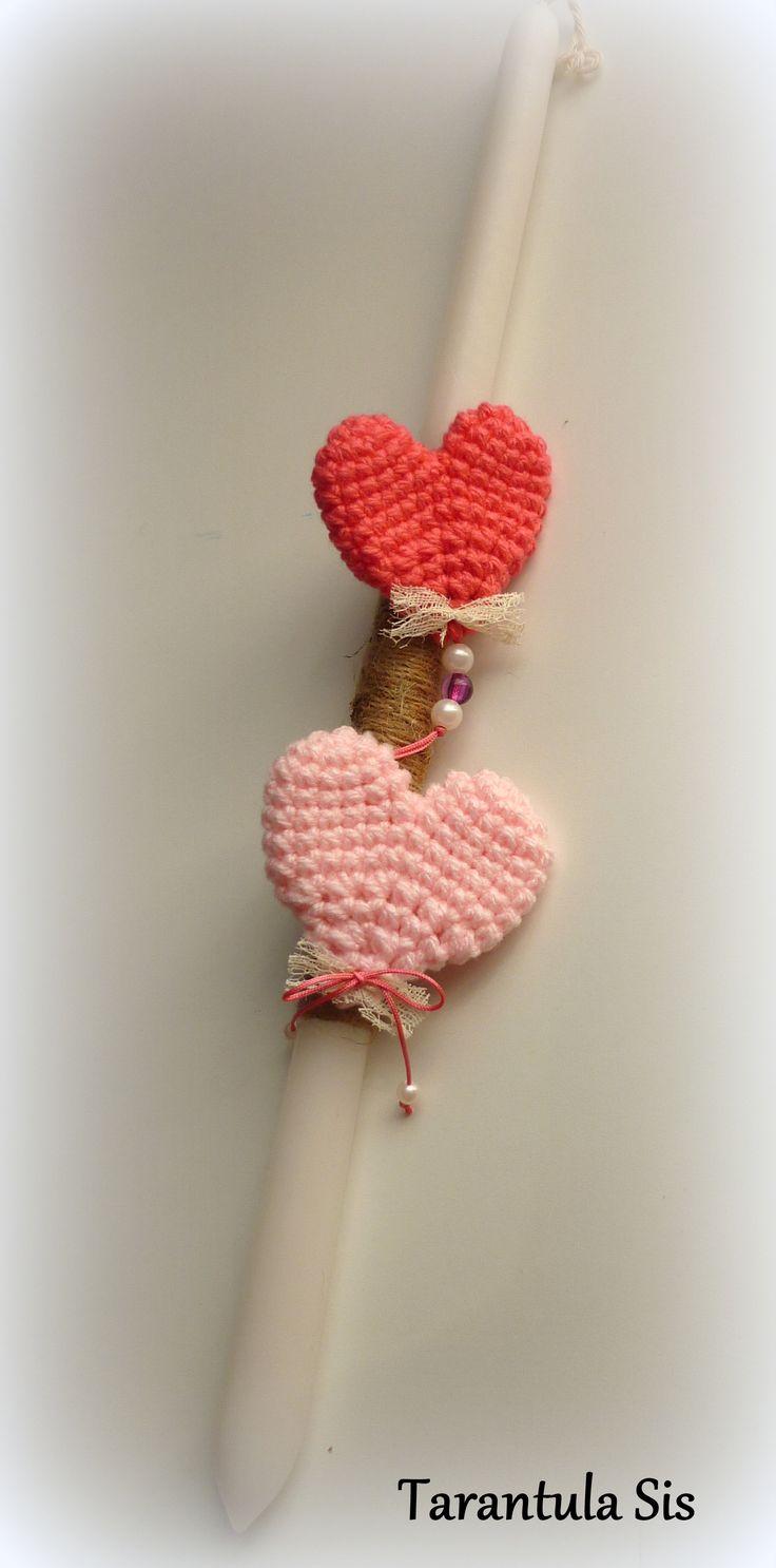 Crochet mini hearts. Easter candle decoration. Πασχαλινή λαμπάδα με πλεκτές καρδιές.