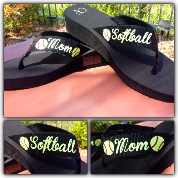 I want these!!!!!! Softball Mom Glitter Flip Flops by kalicocrafts on Etsy, $25.00