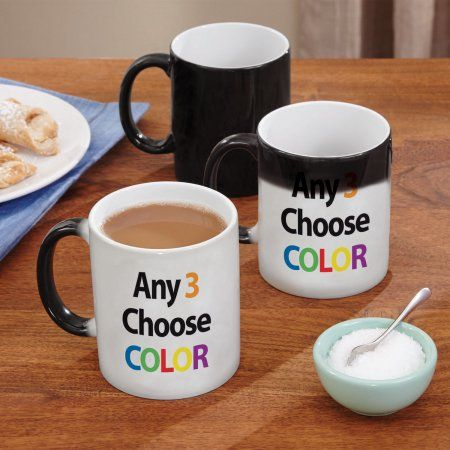 Personalized Any 3 Line Message Color Changing Coffee Mug, Multicolor