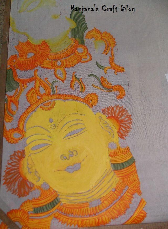 Work In Progress on Wednesday-Kerala Mural on Saree