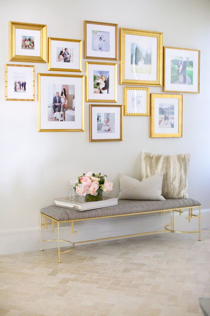 obsessed with how these are arranged but dont love the color of the frames. Maybe all white