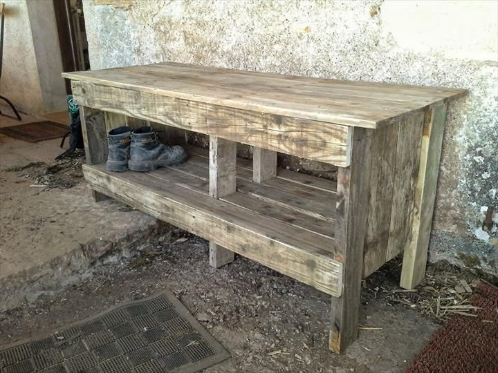 Diy Pallet Entryway Bench With Shoe Rack Pallet