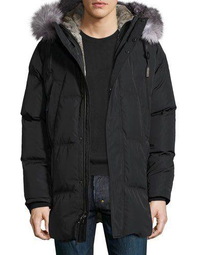 Freezer Down Parka w/Fur Trim, Jet Black