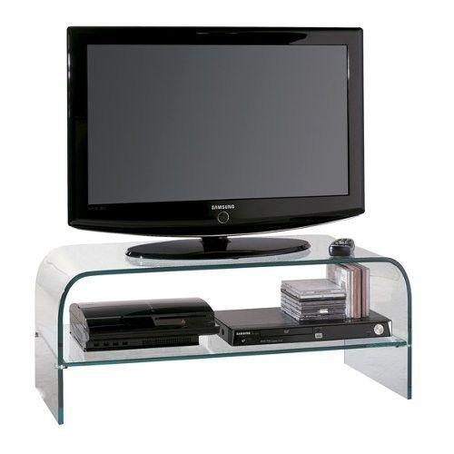 Justmoment MOBILE TV IN CRISTALLO TEMPERATO L 110 * H 40 * P 40 cm MAX 50 '' - Casa & Giardino