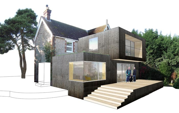 Very modern Interesting cladded double storey rear extension design to this traditional English home.